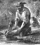 California Gold Rush Panning for Gold